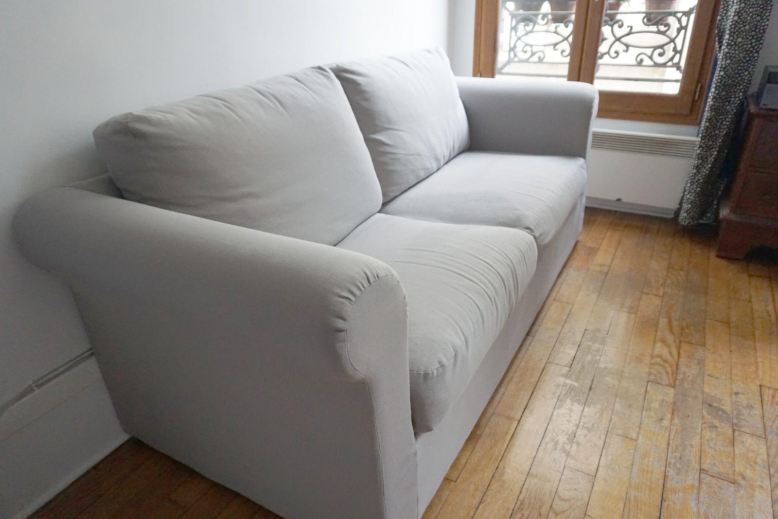Canape recouvert sur-mesure – Tissu coton uni gris souris – 2