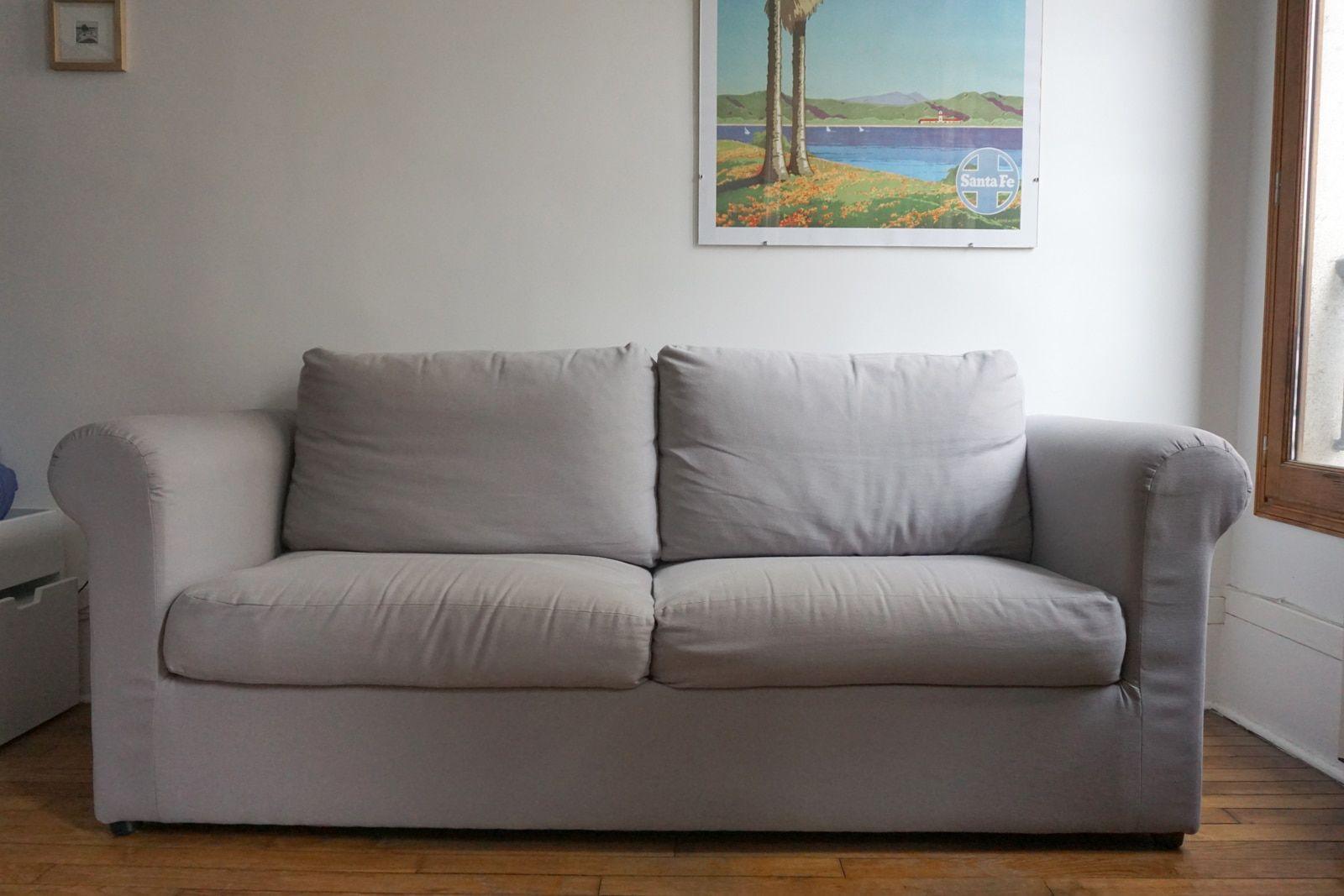 Canape recouvert sur-mesure – Tissu coton uni gris souris – 1