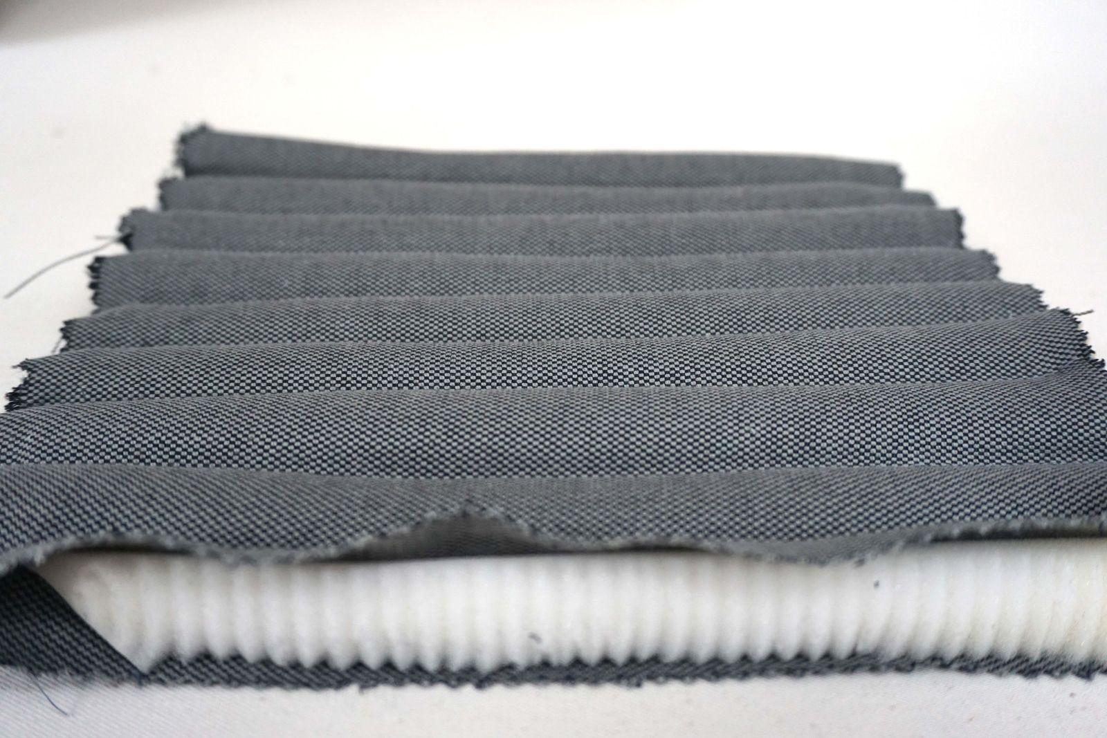 Detail maquette de mousse surpiquee – Tubes – Tissu coton gris acier – 2