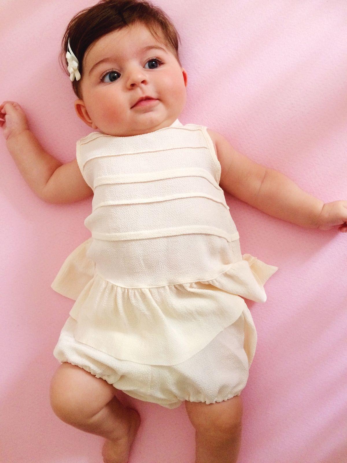 Robe - Penelope - Crepe de soie écru - Plis - Vetements enfants