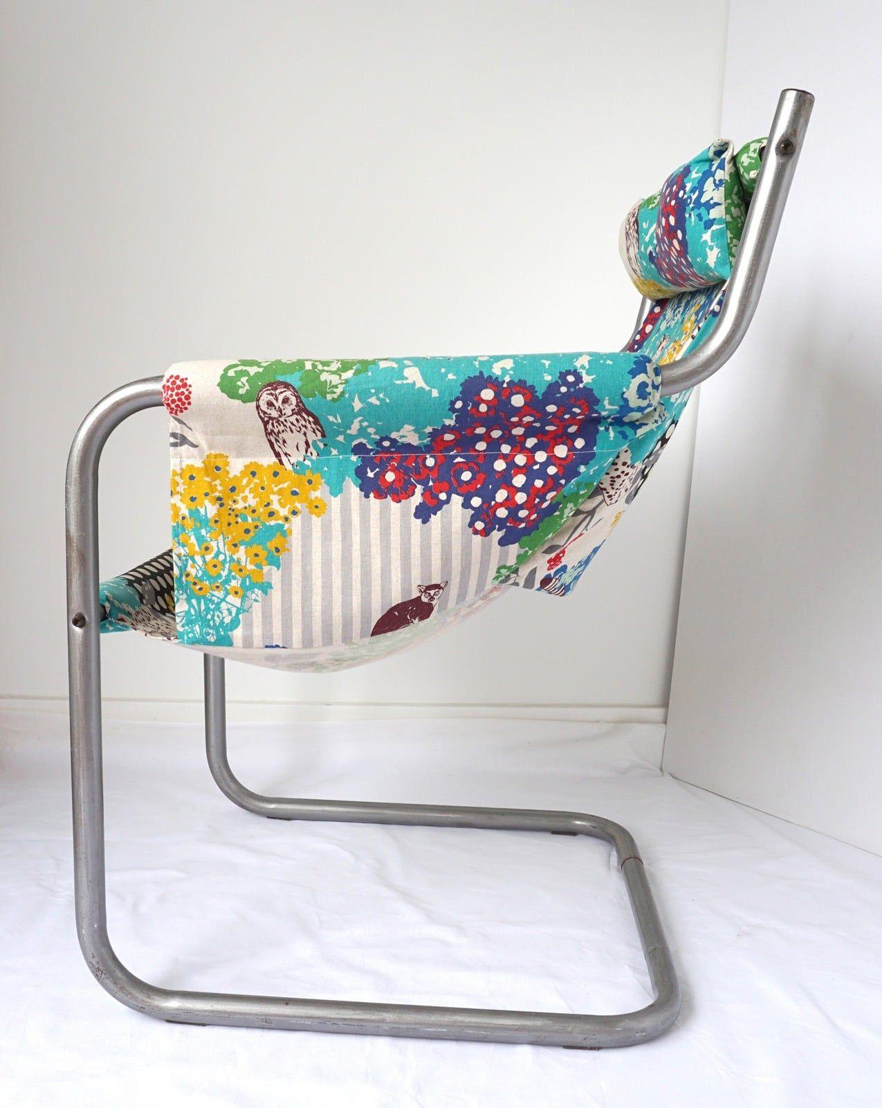 Fauteuil renove sur-mesure – Tissu coton imprime pois – rayure – animaux – 2
