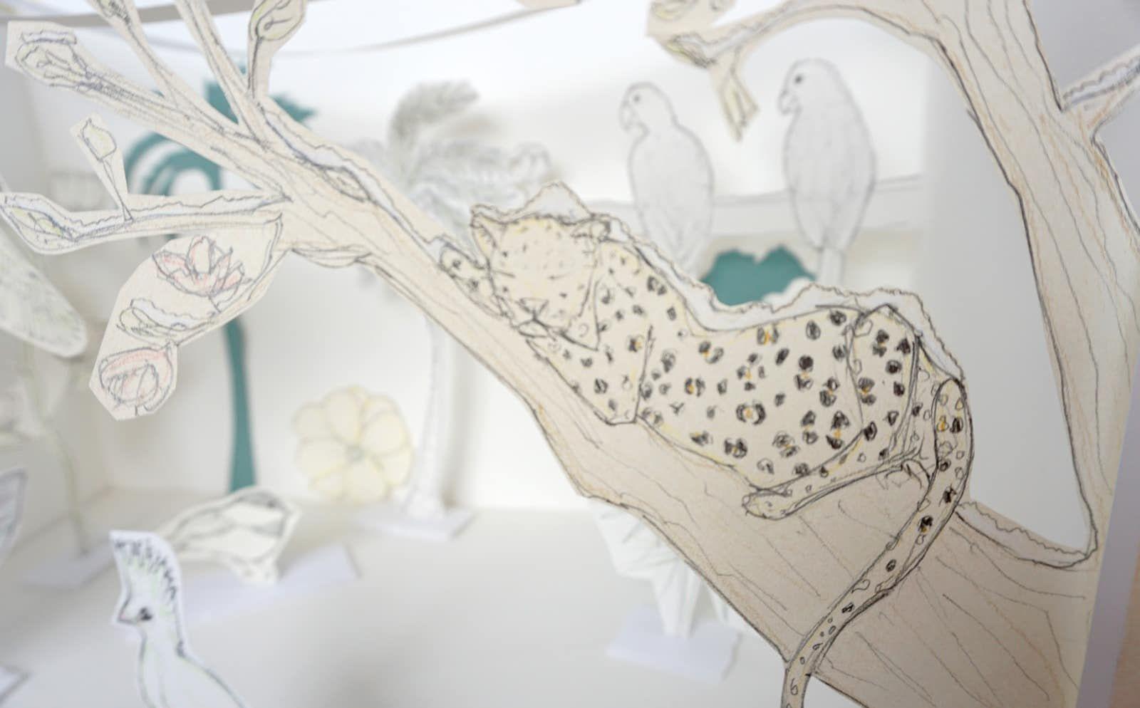 Les leopards et le pere noel – Mise en scene vitrine – Projet Tropiques givres – Detail