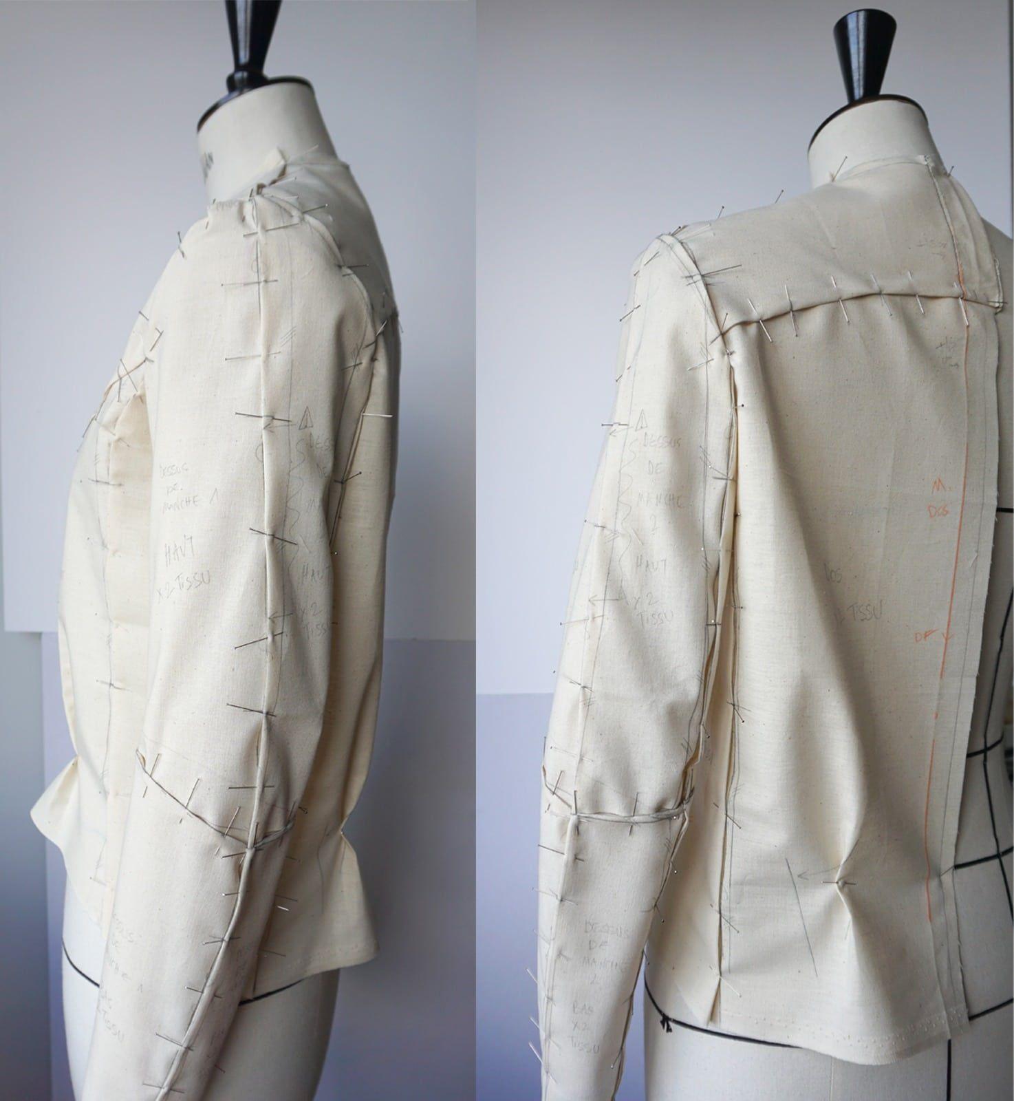 Toile – Sur mannequin Stockman – Veste en cuir d agneau napa – Noire – Doublure imprimee – Femme – Sur-mesure-2