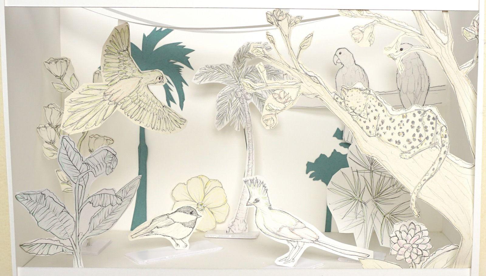 Les oiseaux tropicaux sous la neige – Mise en scene vitrine – Projet Tropiques givres