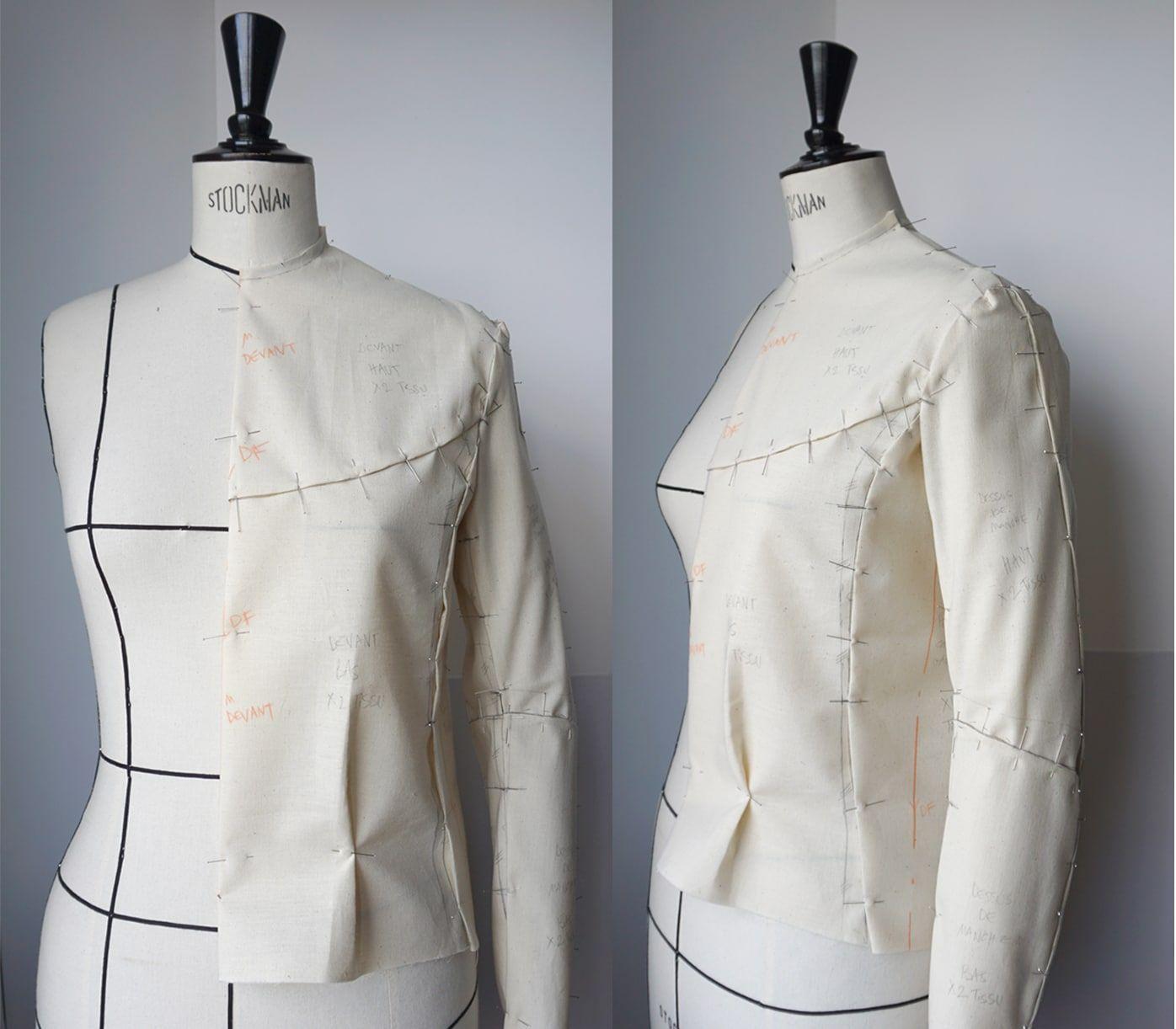 Toile – Sur mannequin Stockman – Veste en cuir d agneau napa – Noire – Doublure imprimee – Femme – Sur-mesure-1