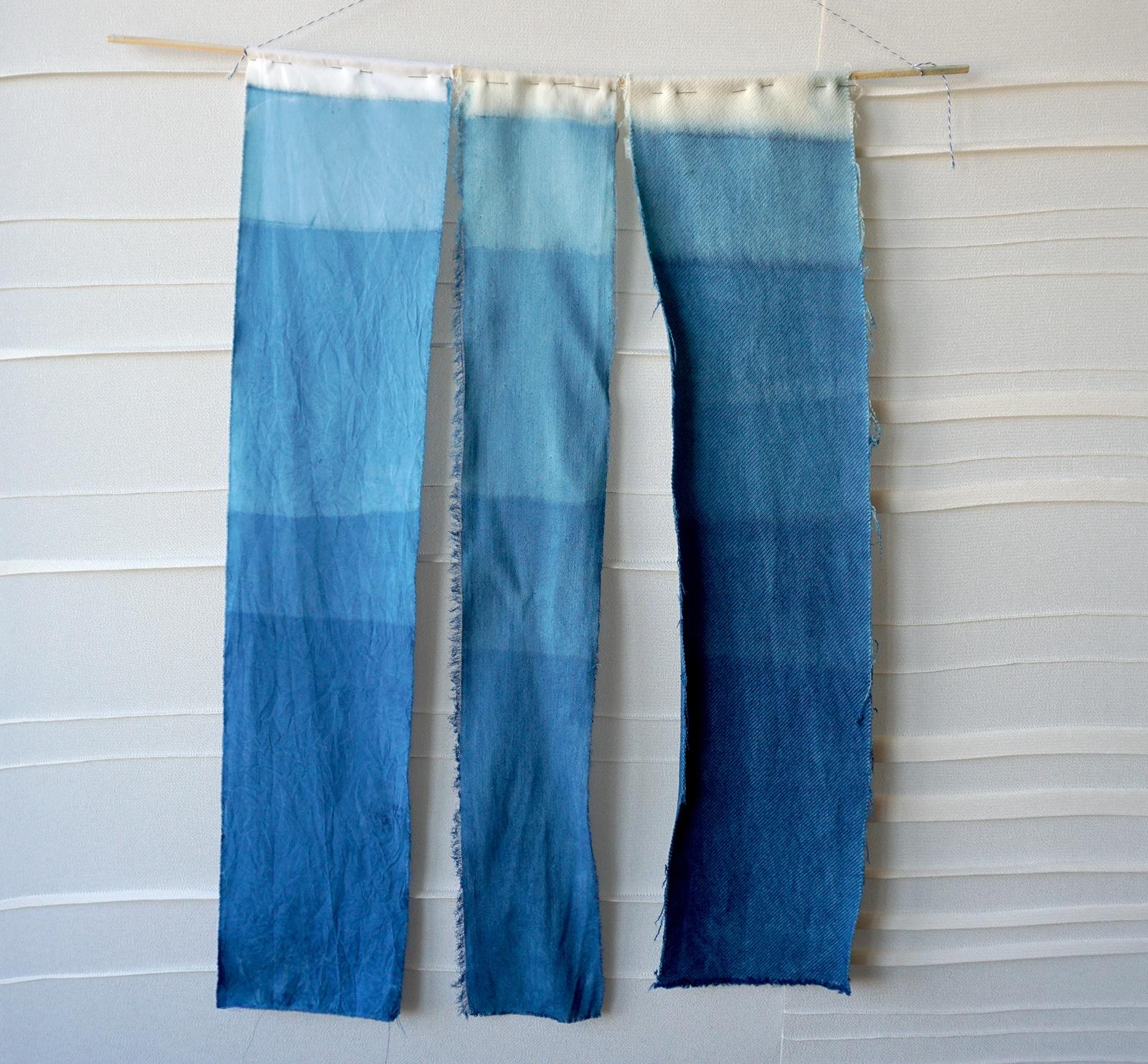 Echantillons de teinture bleue – Indigo – Atelier A Guery – Projet Bleu – Studio sur-mesure